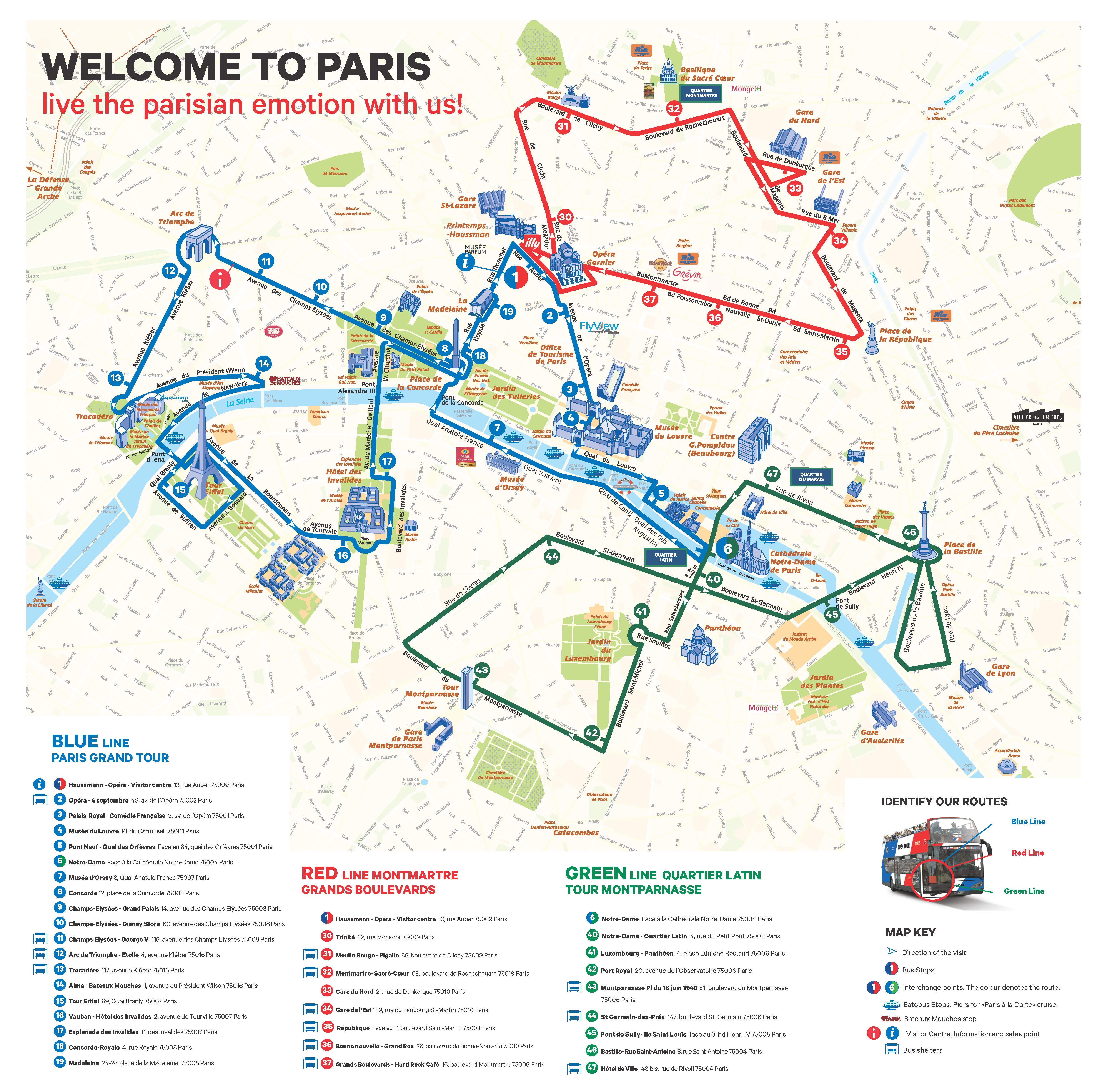 LOpen Tour Paris Haltestellen